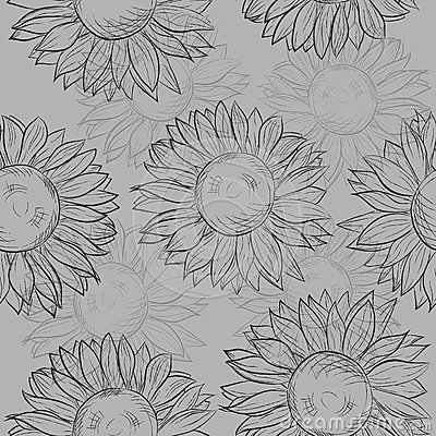 Cute seamless pattern with sunflowers. Abstract gray, black and white.