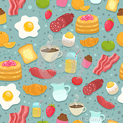 Free Cute Seamless Pattern With Breakfast Food Royalty Free Stock Photos - 41743338