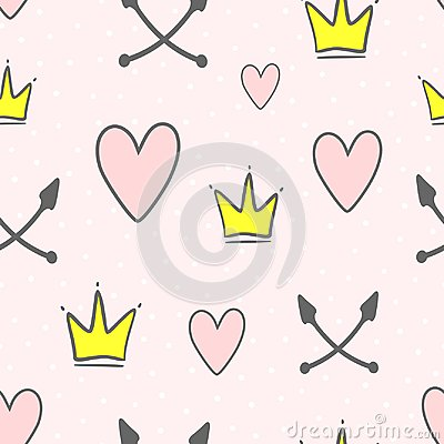 Free Cute Seamless Pattern With Crowns, Hearts, Crossed Arrows And Round Dots. Endless Girlish Print. Stock Photos - 122546473