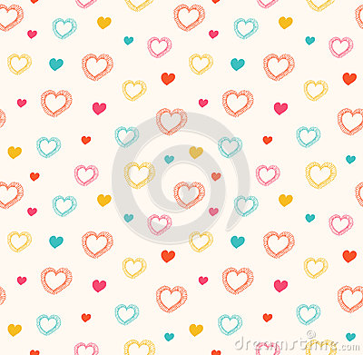 Free Cute  Seamless Pattern With Hearts Stock Photo - 41070750