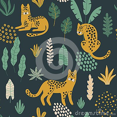 Free Cute Seamless Pattern With Leopards, Exotic Leaves And Shapes . Royalty Free Stock Photography - 122375067