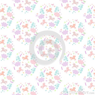 Free Cute Seamless Pattern With Unicorns, Flowers, Clouds, Stars, Hearts And Sweets. Royalty Free Stock Photography - 79494997