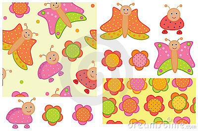 Cute seamless patterns and elements for your desig