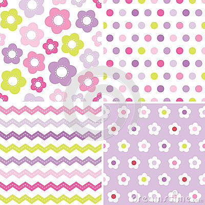 Free Cute Seamless Pink And Purple Background Patterns Royalty Free Stock Photography - 39434197
