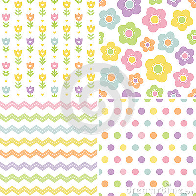 Cute seamless pink and yellow background patterns Vector Illustration
