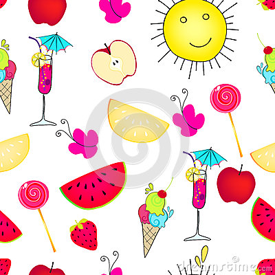 Cute seamless summer background