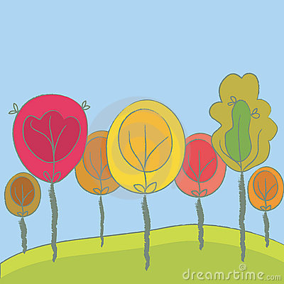 Cute seasonal background with trees