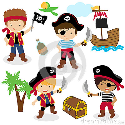Free Cute Set Of Children Pirates Royalty Free Stock Image - 33787426
