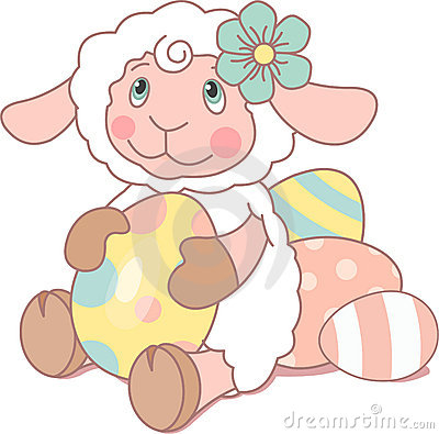 Cute Sheep With Easter Egg Royalty Free Stock Photography