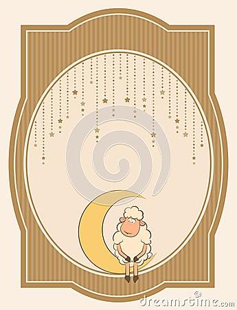 cute sheep on moon