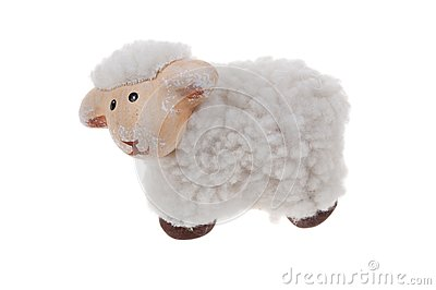 Cute sheep toy isolated