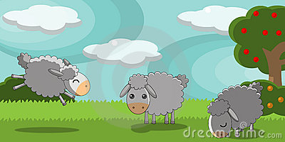 Cute sheeps in a countryside landscape