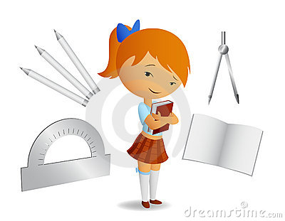 Cute shoolgirl with book