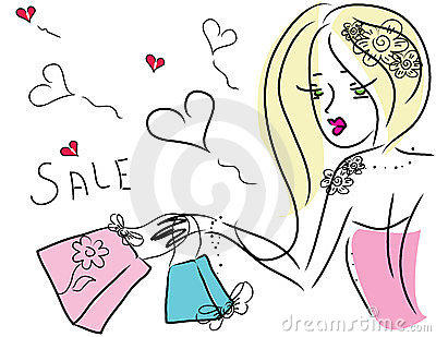 Cute Shopping Girl Royalty Free Stock Photo - Image: 23734625