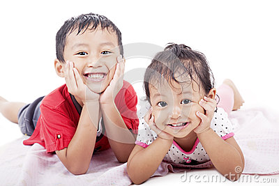 Cute siblings posing