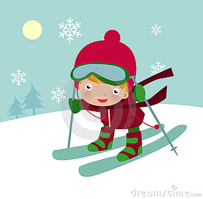 Cute  skiing boy