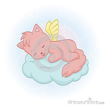 Cute sleeping angel-cat