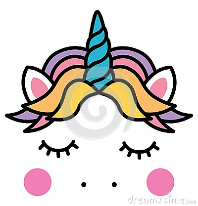 Cute sleeping unicorn head colorful rainbow Vector Illustration