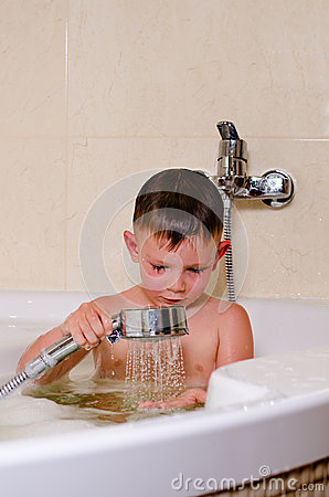 Cute Small Boy Showering In The Bath Stock Photo Image