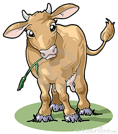 Cute smiling cow. Cartoon style