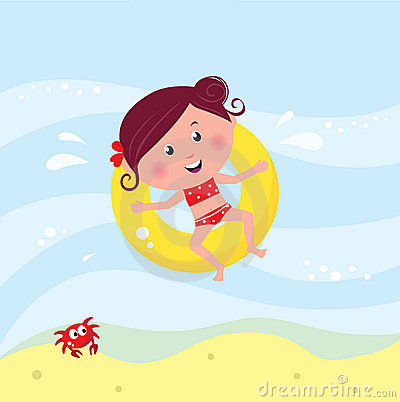 Cute smiling girl swimming in sea