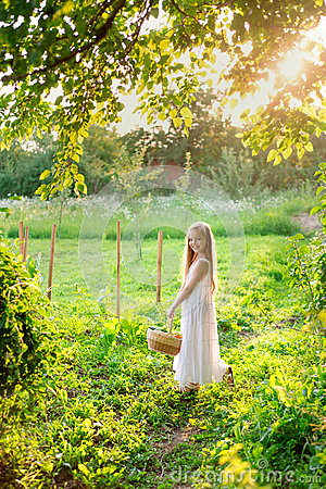 Free Cute Smiling Little Girl Holds Basket With Fruit And Vegetables Stock Images - 69987274