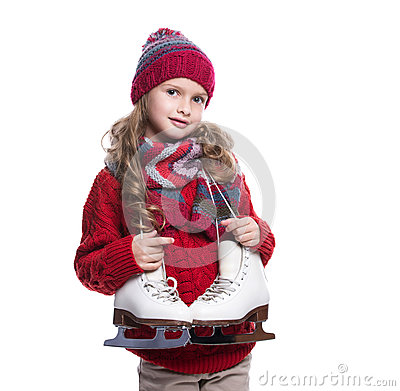 Free Cute Smiling Little Girl With Curly Hairstyle Wearing Knitted Sweater, Scarf, Hat And Gloves With Skates Isolated On White Backgro Stock Photos - 82172713