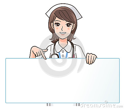 A Cute smiling nurse pointing to a blank board