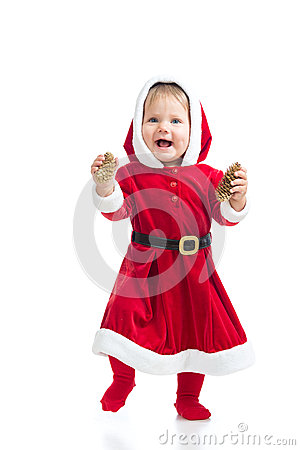 Cute smiling Santa Claus baby girl