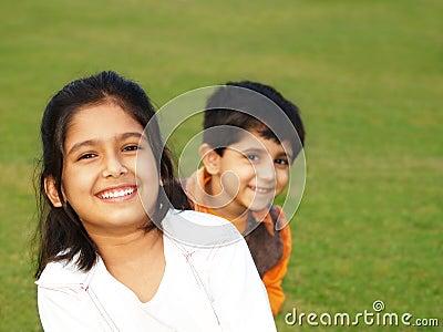 Cute smiling sisters