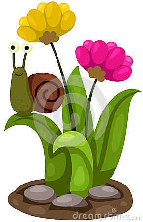 Free Cute Snail With Flowers Royalty Free Stock Photos - 46750348