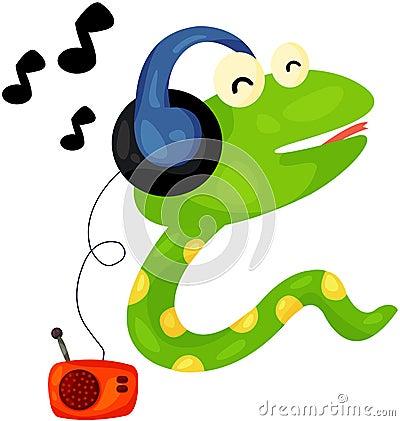 Cute snake listening music