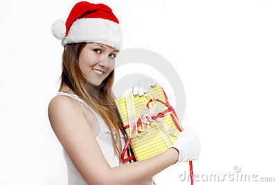 Cute Snow Maiden with a gift box
