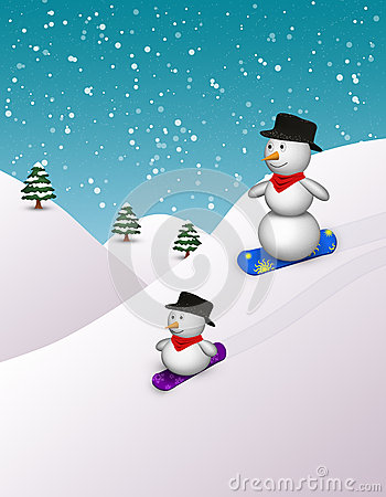 Cute Snowboarding Snowmen
