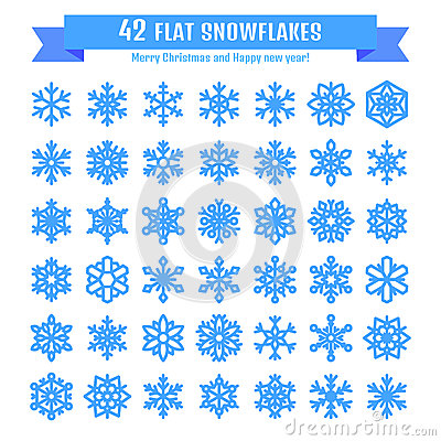 Cute snowflake collection isolated on white background. Flat snow icon, snow flakes silhouette. Nice snowflakes for christmas Vector Illustration