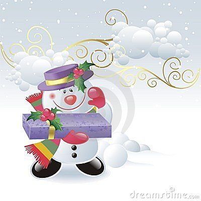 Cute snowman with gift box