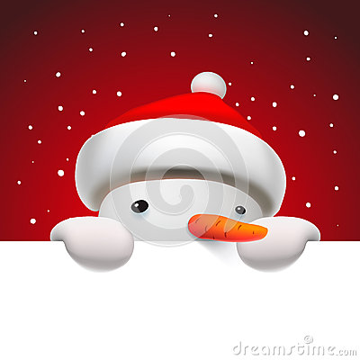 Free Cute Snowman Holding White Page, Christmas Card Royalty Free Stock Image - 62125396