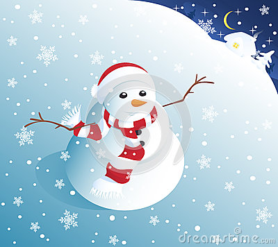 Cute snowman in snowfall