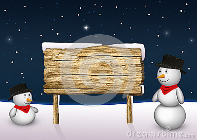Cute Snowmen with a blank wooden sign
