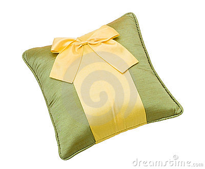Cute bow pillow isolated on white