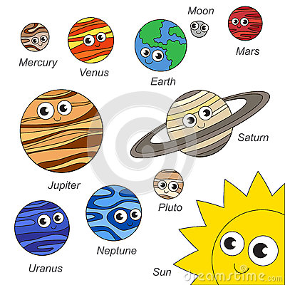 Cute Solar Sistem Planet Set The Collection Of Coloring