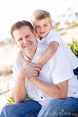 Cute Son with His Handsome Dad Portrait