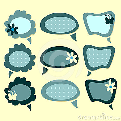 Quote Bubble Cute Cute Speech Bubbles Set Stock