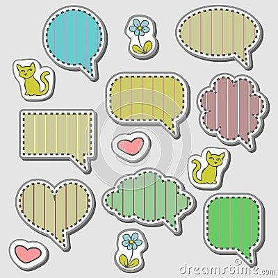 Cute speech bubbles stickers set