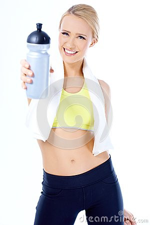 Free Cute Sporty Blond Woman Holding Water Bottle Stock Images - 31170254