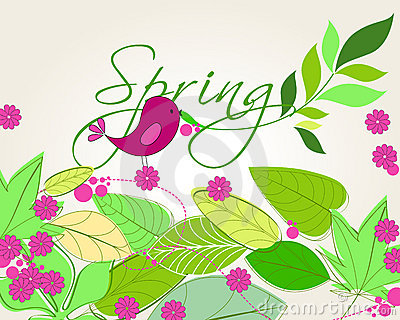 Cute spring bird illustration