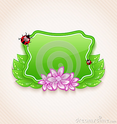 Cute spring card with flower, leaves, lady-beetle
