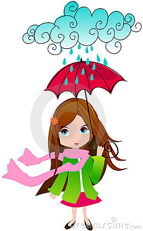 Cute spring girl with umbrella