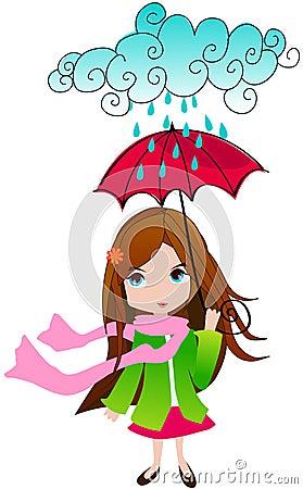 Cute spring girl with umbrella