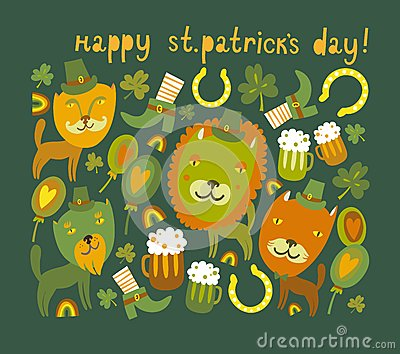 Cute St.Patrick s day background with cats